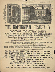 Advertisement for the Nottingham Hosiery Company